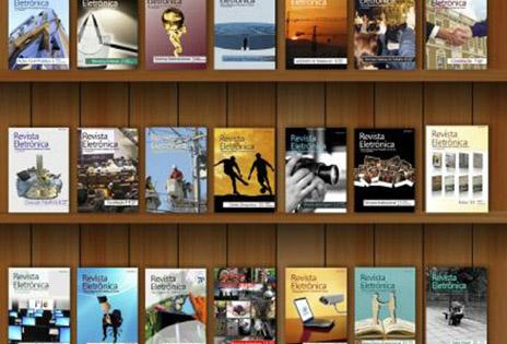 Imagem traz ilustração de uma estante preenchida com várias capas de edições da Revista Eletrônica do TRT-PR.