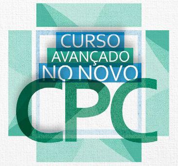 Imagem mostra logomarca associada ao Curso Avançado no Novo CPC, que integra cartaz com a respectiva programação.
