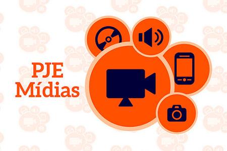 logomarca PJE Mídias composto por icones de equipamentos eletronicos em circulos sobrepostos