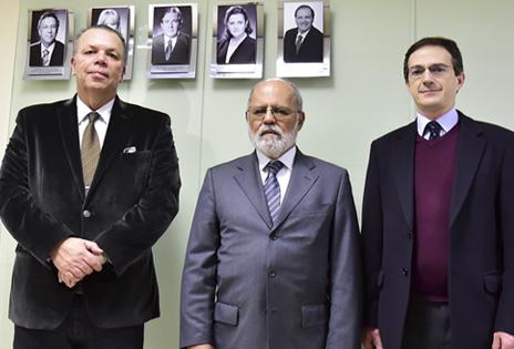 Ministro Renato de Lacerda Paiva e desembargadores Cássio Colombo Filho e Arion Mazurkevic